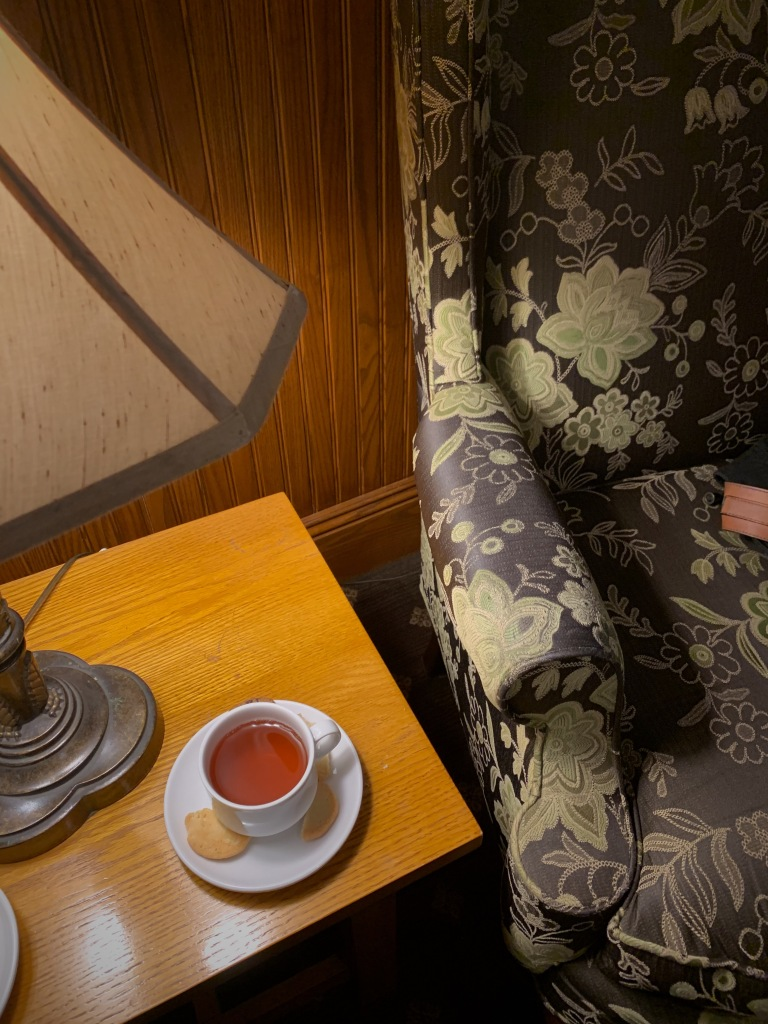 an armchair and tea