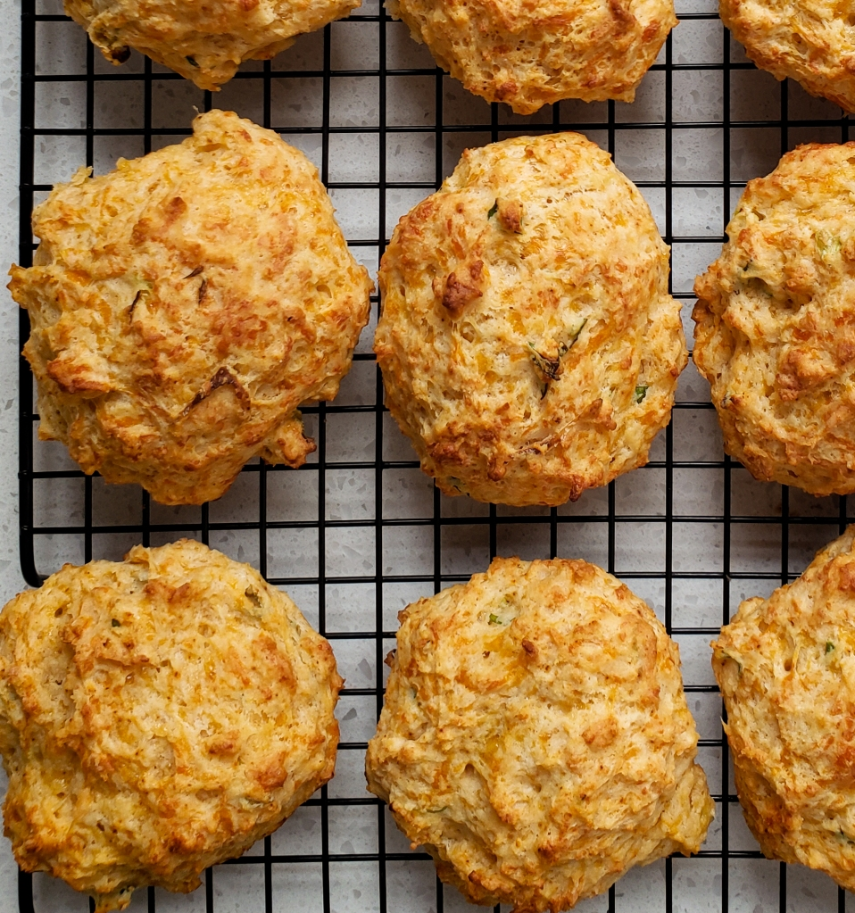 overhead picture of a biscuits o na cooling rack