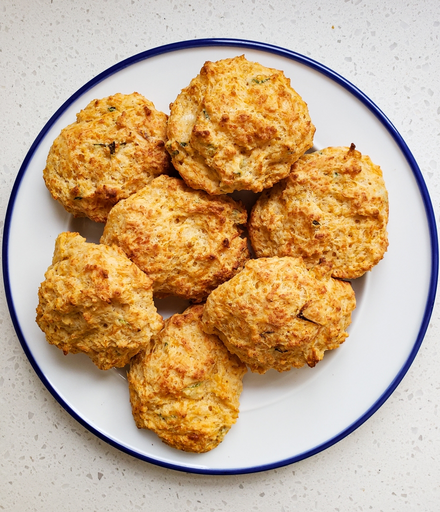 A plate stacked with biscuits
